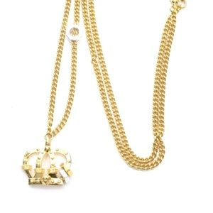 VERSACE GOLD-TONE CROWN PENDANT NECKLACE